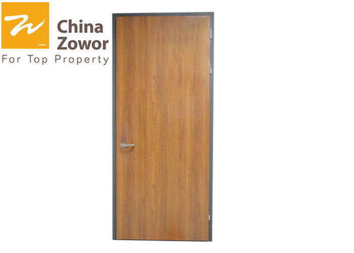 Single Swing Right Handed Fire Safety Door Wood Grain Finish Galvanized Steel