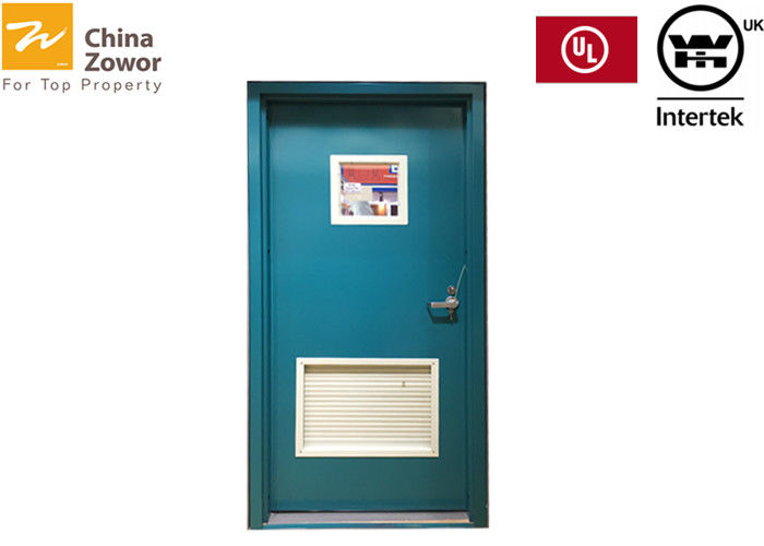 UL Listed  Gal. Steel Fire Safety Door With Vision Panels & Fusible Louvers/ Blue Color